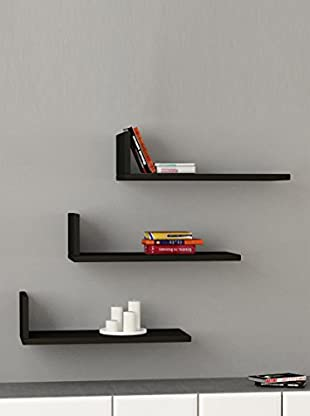 Decortie by Homemania Set 3 Estantes L (Negro)