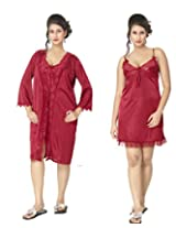 KuuKee Women's Satin Maroon colored nightwear (10024A_Maroon_L)