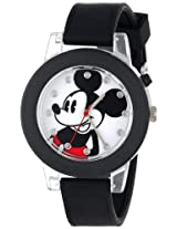 Disney Kids' MK1277 Mickey Mouse Light-Up Watch With Black Rubber Band