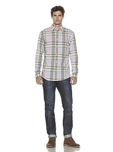 Just A Cheap Shirt Men's Long Sleeve Woven Plaid Shirt (Red/Green)