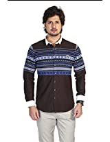 Apris Mens Cotton Full Sleeved Casual Shirt-BROWN (S3127) (M)