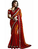 Pagli orange with red shaded printed georgette saree.