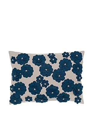 Cloud 9 Felt Daisy Lumbar Pillow, Beige/Blue