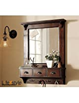 lifeEstyle Mirror Frame With Hooks And 3 Drawir And Bathroom shelves