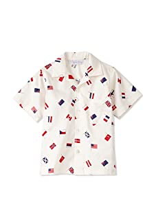 Rachel Riley Boy's Flag Print Shirt (Ivory/Red)