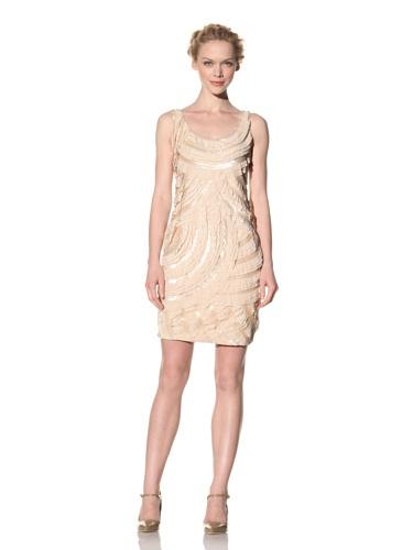 Philosophy di Alberta Ferretti Women's Tiered Dress with Sequin Detailss (Light Tan)