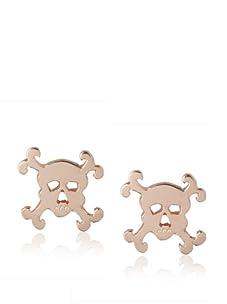 Catherine Angiel Rose Gold Skull Stud Earrings