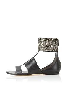 Alejandro Ingelmo Women's Anni Crystal Flat Sandal (Black/Silver)