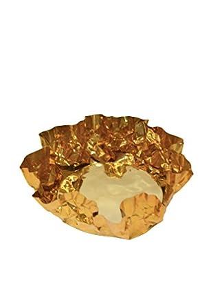 Rojo 16 Large Crinkle Tea Light Holder, Brass