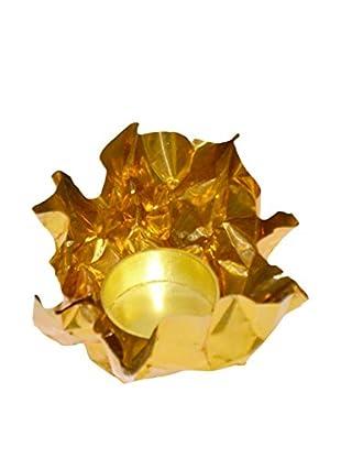 Rojo 16 Small Crinkle Tea Light Holder, Brass