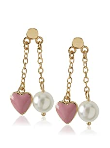 Frida Girl Pink & White Heart & Pearl Dangle Earrings