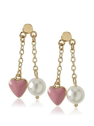 Frida Girl Pink and White Heart and Pearl Dangle Earrings