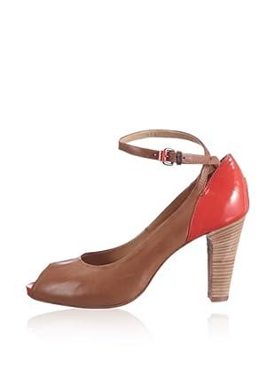 Manas Zapatos Peep Toe Bicolor (Marrón / Rojo)