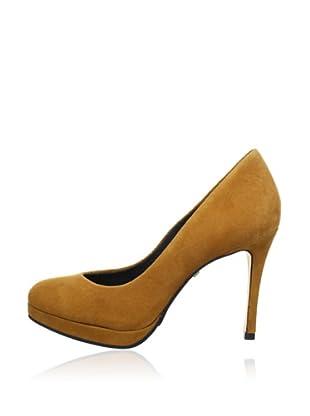 Buffalo London 16153-710 KID SUEDE 140747 - Zapatos de tacón de cuero  mujer (Marrón)