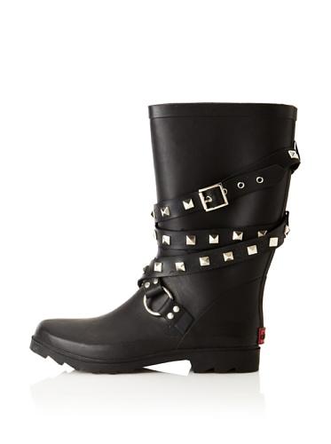 Chooka Women's Moto Rain Boot (Black)
