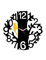Panache Aluminium Wall Clock Pan058 1 to 12 Tree Black