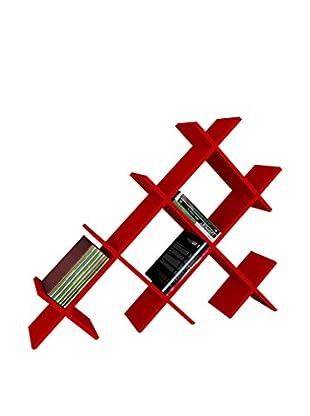 Dekorister Bücherregal Discuss rot 22x118,1x94,5cm