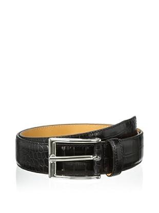 Leone Braconi Men's Crocodile Print Belt (Black)