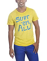 Masculino Latino Casual Yellow T-shirts Round Neck for Men MLT3001A-XL