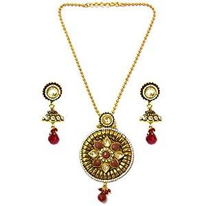 Daamak Jewellery Red And White Stones Embellished Jewelry Set jewellery Set