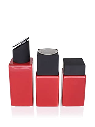 CULT DESIGN Cube Spice Jar, Grinder and Oil/Vinegar Set, Red