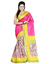 Parchayee Pink Bhagalpuri silk Traditional saree
