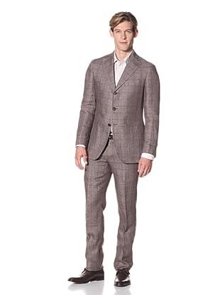 Domenico Vacca Men's Windowpane Suit (Brown/Purple)