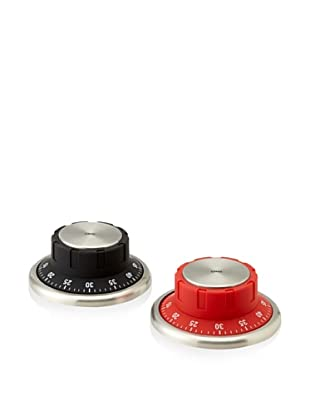 Cilio Premium Set of 2 Kitchen Timers, Black & Red