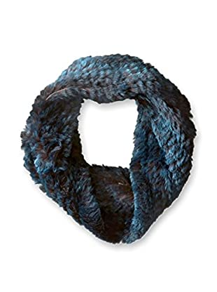 Jocelyn Women's Snowtop Sheared Rabbit Knitted Cowl Scarf, Blue/Grey