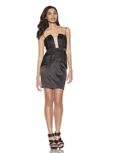 Foley + Corinna Women's 2-Piece Stretch Corset Top and Skirt Set (Black)