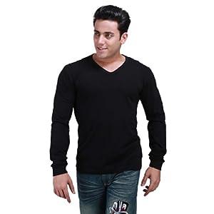 Inkovy Black Cotton Men T shirt VNECK FULL BLACK