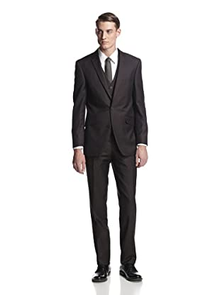 Renoir Men's 3-Piece Tonal Stripe Suit (Brown)