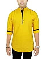 AA' Kuons Avenue Men's Saffron Yellow Cotton Linen Long Sleeve Casual Kurta