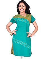 Rucchi By Praveen Women's Cotton Green Kurti