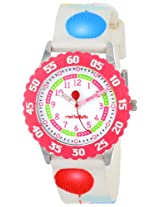 Red Balloon Kids W000178 Time Teacher Stainless Steel Watch with Multi-Colored Nylon Band