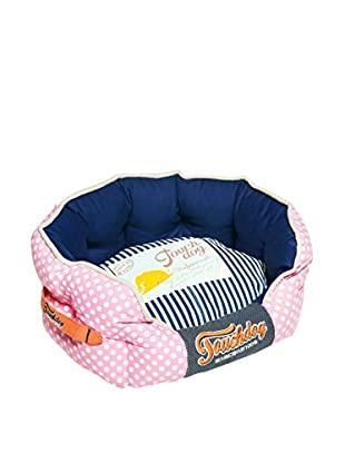 Touchdog Polka-Striped Polo Rounded Dog Bed
