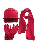 Luxury Divas Hot Pink Cloche Fur Trim Fleece 3 Piece Hat Scarf & Glove Set
