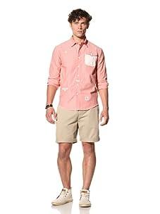Under 2 Flags Men's Conrast Stripe Woven Shirt (Geranium/White Stripe)