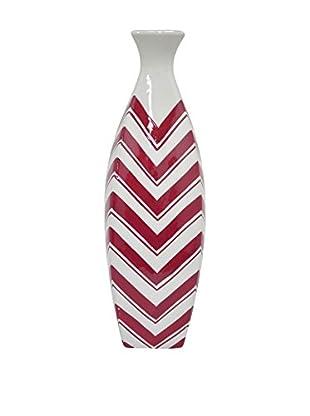 Three Hands Short & Skinny Chevron Ceramic Vase, Red/White