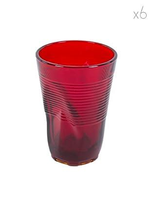 Kaleidos Set 6 Bicchieri Accartocciati 340 ml (Rosso)