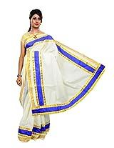 Atex Cotton Lace Saree (Atex70005 _Cream)