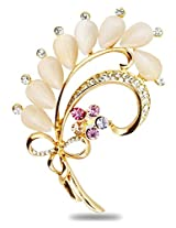 Silver Shoppee Living Legend 21K Yellow Gold Plated Cubic Zirconia and Opal Studded Alloy Brooch