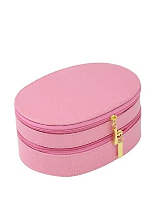 Bey-Berk Reptile-Embossed Leather 2-Level Jewelry Case, Pink