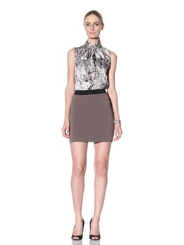 Cut25 Women's Ribbed Knit Skirt (Camel/Jet)