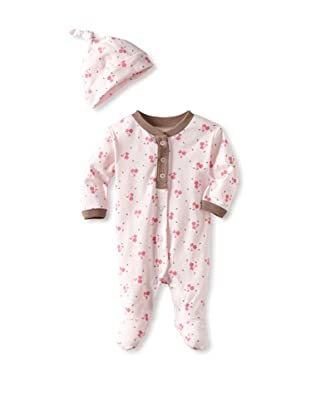 Coccoli Baby Cotton Footie with Cap (Pink Cat)