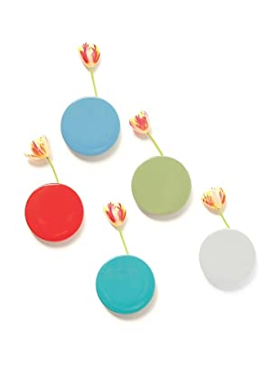 Chive Set of 5 Wall Dot Vases, Red/Moss/Baby Blue/Teal/Silver