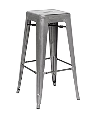 LO+DEMODA Set Taburete de bar 2 Uds. Metal Ural Gris