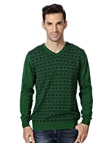 Allen Solly Green Printed Sweater