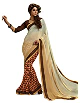 Inddus Women Beige & Brown Georgette Printed saree