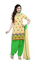Hina Women's Beige Chanderi Cotton Unstitched Dress Material